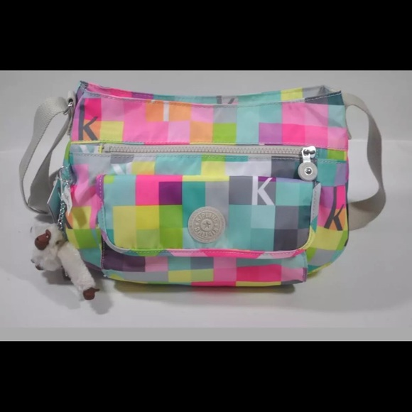 59bf1b2317 NWT Kipling Wes small cross body bag pink squares
